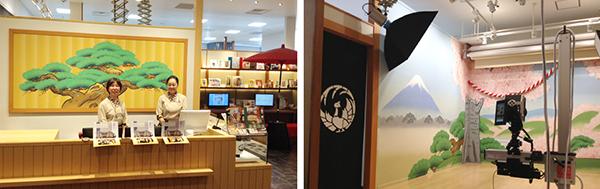 左:スタジオアリス歌舞伎写真館・受付。松羽目の絵は、歌舞伎の背景画を担当する絵描きによる肉筆画です。 右:「歌舞伎なりきりプラン」の背景画。左は『義経千本桜 吉野山』、右は『道成寺』で、こちらも歌舞伎の背景画を担当する絵描きによる肉筆画です。