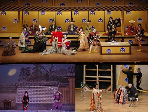 上:『寿曽我対面』 下左:『三人吉三 大川端庚申塚の場』 下右:舞台稽古と大道具の建込みの様子