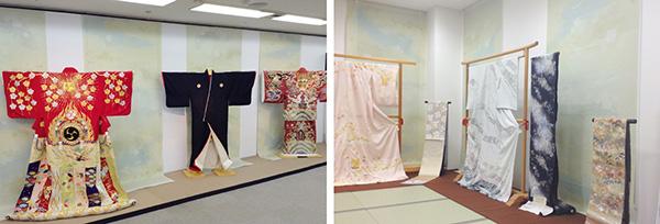 左:『助六』の歌舞伎の衣裳の展示。(衣裳協力:松竹衣裳株式会社) 右:着物を引き立たせるように控えめな色調にしています。