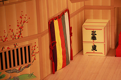 『松寿操り三番叟』の舞台です。三番叟と書かれた箱は、小道具さんの担当になります。
