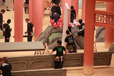 『幻想神空海』の舞台。新作歌舞伎なので、いつもとは随分趣の異なる道具です。