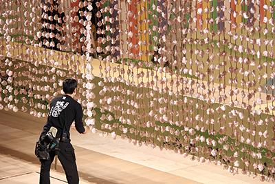 『元禄花見踊』の「吊り桜」を整えているところです。花のところがすぐにからまってしまいますので、目でチェックして手作業でほぐします。「吊り桜」は近くで見ると結構、長いんですよ。