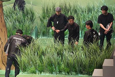 新作歌舞伎「あらしのよるに」は、緑が豊かな自然が舞台となります。ですので、大道具もいつもとはちょっと違った雰囲気です。